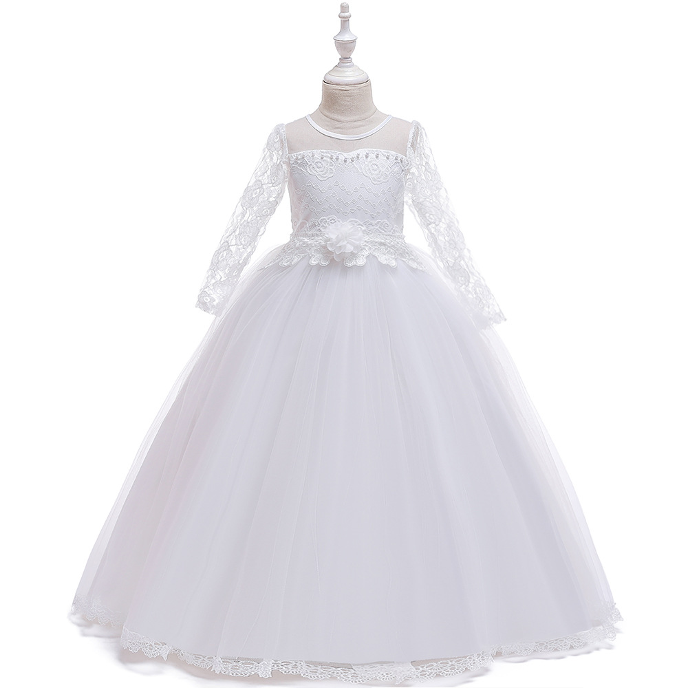 New Style Lace Long Sleeves Flower Girl Dresses for Wedding Long Tulle White Ball Gown Pageant Dress 2020