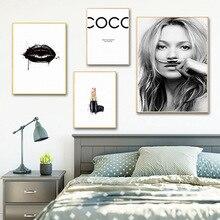 Coco Lipstick Girl Wall Art Nordic Posters