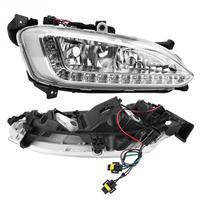 1 пара 12 V Автомобильные фары дневного света DRL Противотуманные фары Крышка для hyundai Santa Fe/IX45 2013 2015 высокое качество