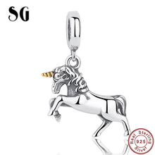 SG 925 sterling silver A long horned horse Beads Fit pandora Charms Bracelets  silver colour  diy fine Jewelry making