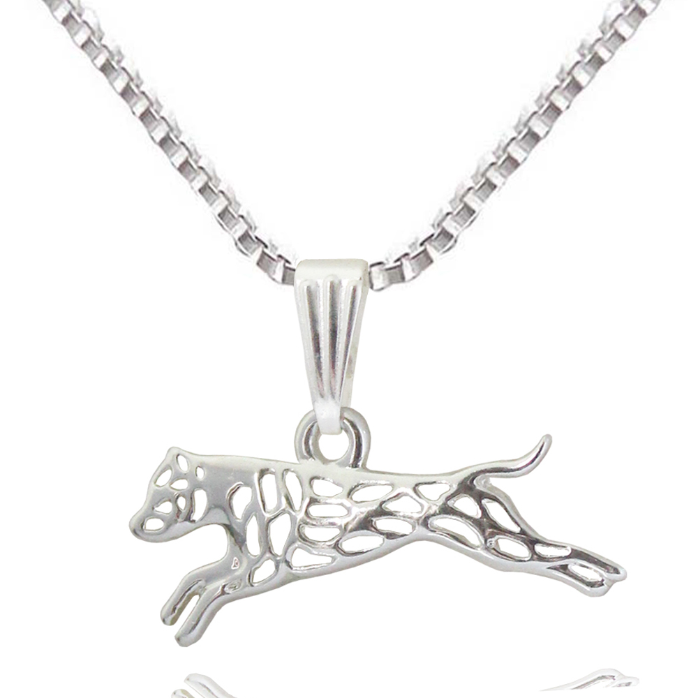 Leaping Terrier Pit Bulldog Silver Plated Dog Animal Pendant Necklaces For Women Gift Jewelry Accessories 2017