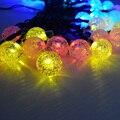 Al aire libre de La Boda de Navidad Bombilla LED Solar Luz de la Secuencia 30Led Iluminación Bola de Cristal Coloridas Luces de Cadena de Cable de