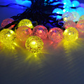 Outdoor Wedding Christmas LED Bulb Solar String Light 30Led Crystal Ball Lighting Colorful Lights Wire String