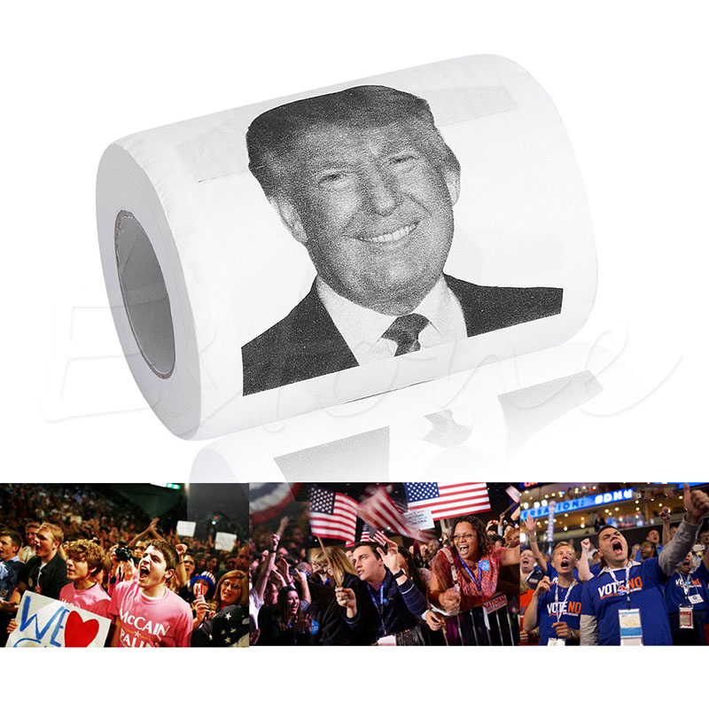 1PC Humor Comfortable Toilet Paper Roll Donald Trump Novelty Funny Gag Gift Dump with Bathroom Hardware