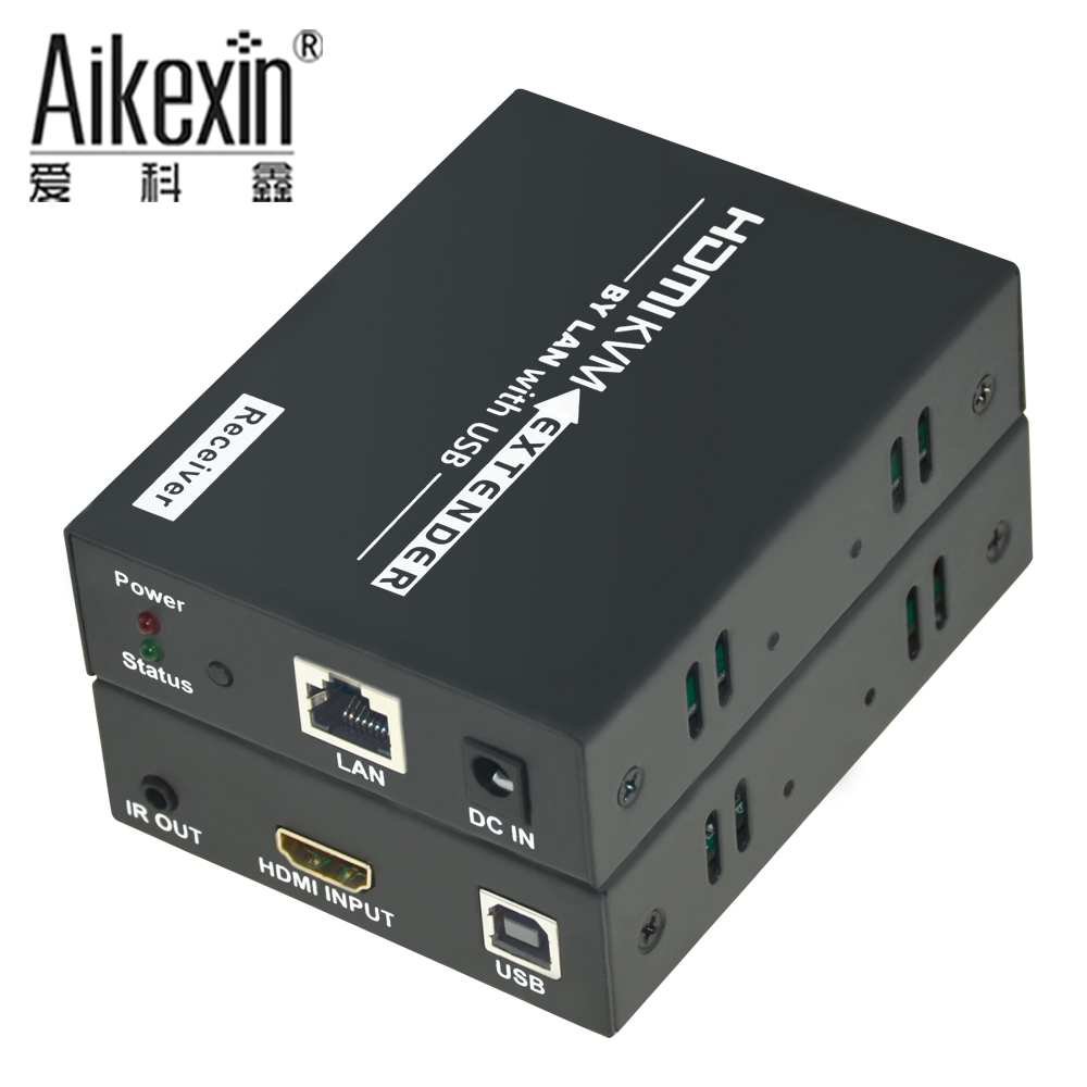 Aikexin 120m USB HDMI IR KVM Extender by RJ45 Cat5e/6 UTP Cable Support 1080P HDMI USB Keyboard Mouse IR KVM Extender link mi lm ex11 1080p 50m single cat5e 6 hdmi extender utp cable high definition signal extension transmitter