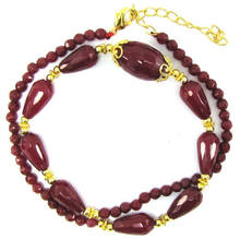 "1350 teardrop faceted ruby red jade beads kalung 16""(China)"