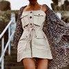 2019 Safari Style Spaghetti Strap Jumpsuit Women Open Button Lacing up Bow Waist Short Pants Romper Cotton Linen Playsuits 1