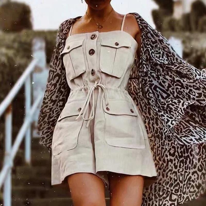 2019 Safari Style Spaghetti Strap Jumpsuit Women Open Button Lacing up Bow Waist Short Pants Romper Cotton Linen Playsuits