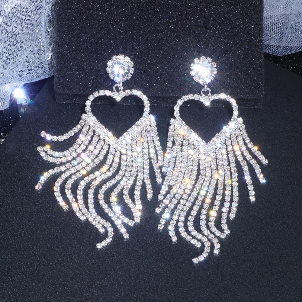Classic Romantic Big Heart Crystal Long Tassel Earrings for Women Fashion Bridal Drop Dangling Earring Wedding Jewelry Gift