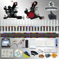 Tattoo Starter Kits 2 Machine Equipment 54 Inks Sets Power Supply Grips Tips Disposable Needles Arrive