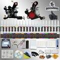 Kits de iniciación del tatuaje 2 equipo de la máquina 54 tintas establece apretones de alimentación consejos agujas desechables llega dentro de 3 ~ 7 días D100-1DH