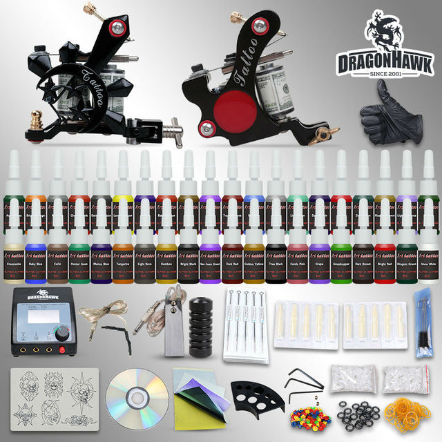 Tattoo starter kits 2 machine equipment 54 inks sets power supply grips tips disposable needles arrive within 3~7 days D100-1DH