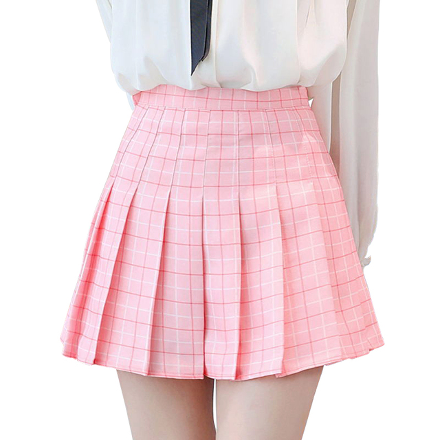 f759875efe7e Women Pleated Plaid Skirt Sexy Safty Mini Skirt Sweet Girl Korean High  Waist 2018 Summer Short Skirts Women Female Plus Size