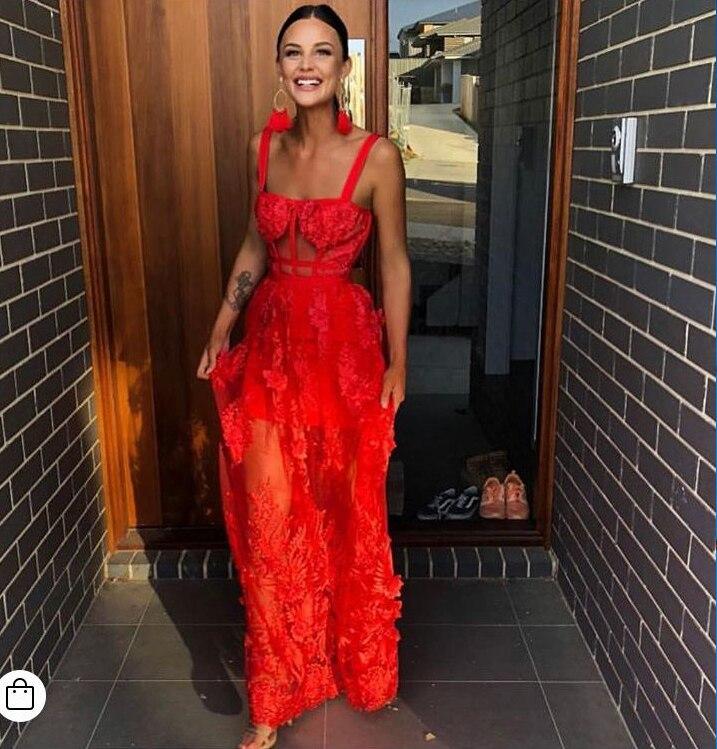 Célébrité haute qualité dentelle rouge sans manches évider longue rayonne robe de pansement soirée robe élégante