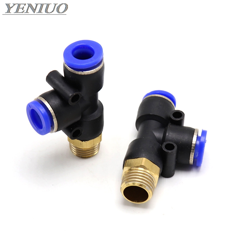 "PD"" Pneumatic Fittings 4mm to 12mm Hose Tube 1/4"" 1/8"" 3/8"" 1/2""BSP Male Thread T Shape Tee Air Connector Pipe Coupler"