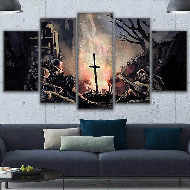 5 Pieces Wall Art Canvas Painting Frame Home Decor Living Room Dark Souls Pictures Modern Abstract Soldiers Game Poster Bedroom