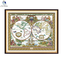 Joy Sunday Old world map Patterns DIY Handmade Counted Cross stitch kit and Precise Printed Embroidery set Needlework