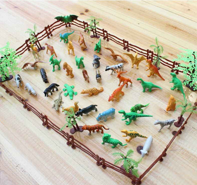 Высокое качество Моделирование зоопарк, содержащей твердые забор кокосовое Тигр в натуральную величину модель динозавра игрушки для детей 68 шт./компл. Лидер продаж