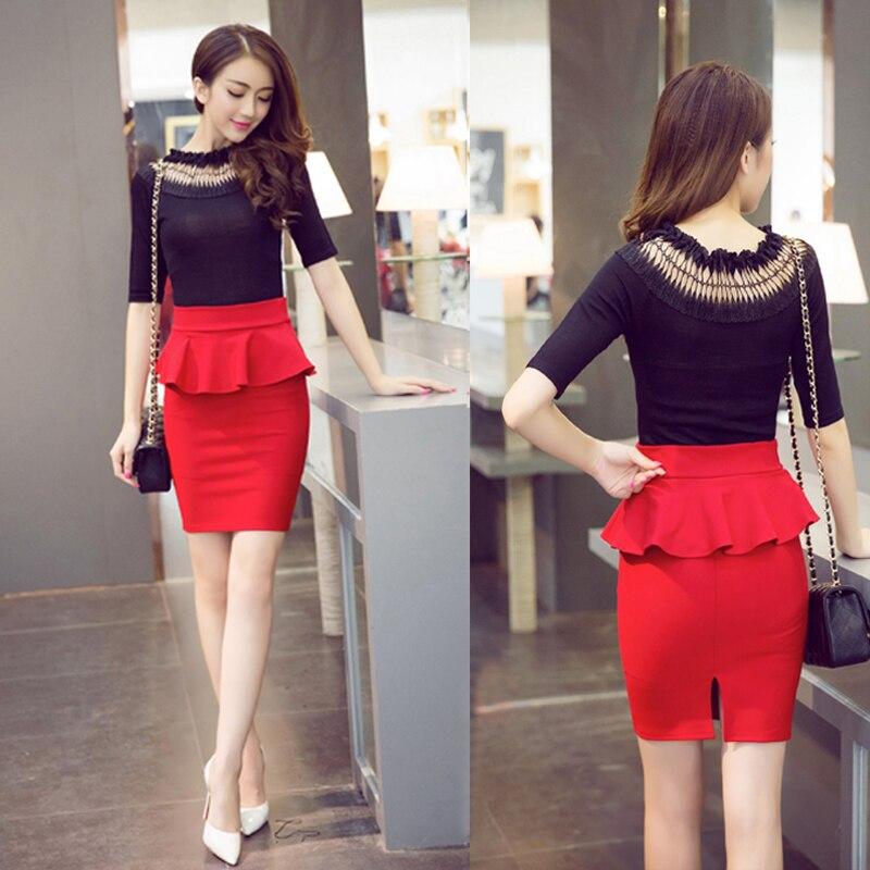 5XL больших размеров Женщины Карандаш Юбки 2017 Мода рябить женщины офисные юбки короткие работы юбки черный красный