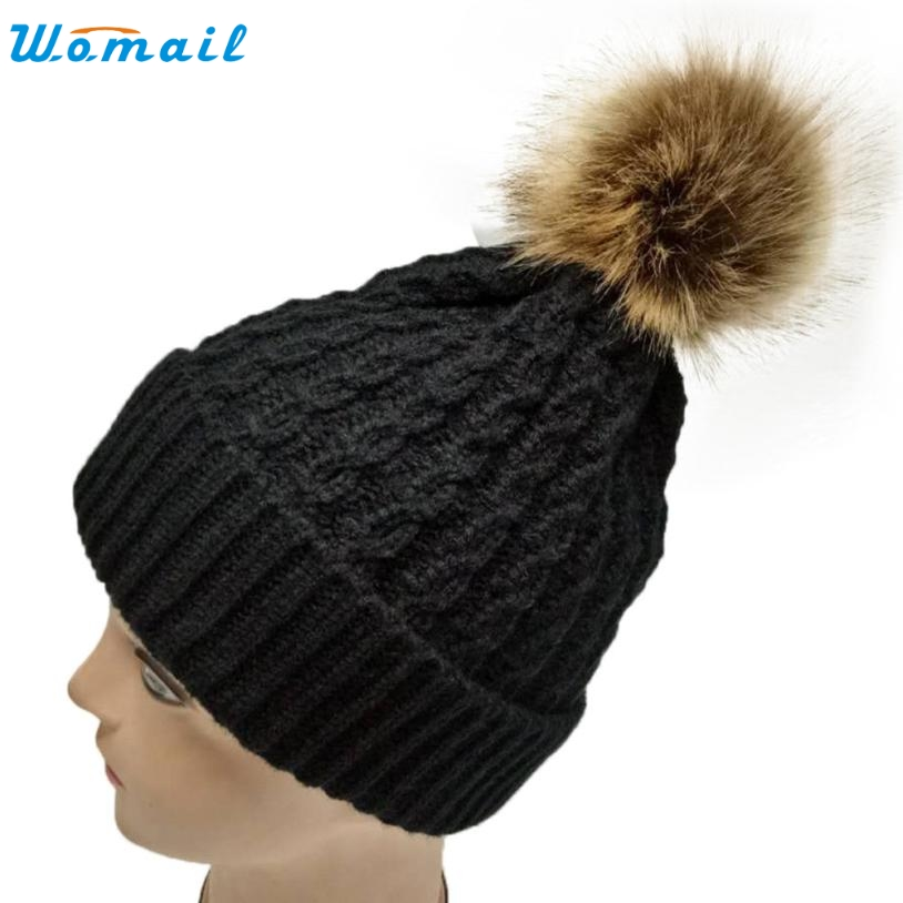 New Fur Pompon Hat Thick Winter For Women Cap Beanie Hats Knitted Wool Caps Female skullies Beanies Baggy Winter Warm Hat  Dec6 2017 new lace beanies hats for women skullies baggy cap autumn winter russia designer skullies