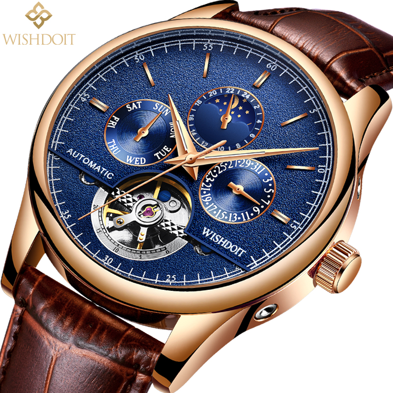 WISHDOIT Men's Watch Top Luxury Brand Business Mens Sport Automatic Mechanical Watchs Waterproof Military Men watches male clock goer men military sport clock male business skeleton clocks automatic mechanical watches top brand luxury mens wrist watch
