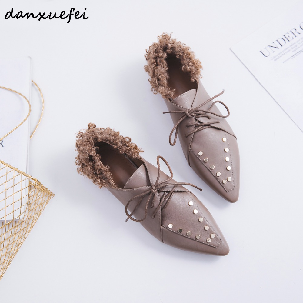 3 Color plus size 33 40 women's flats oxfords lace up wool autumn leisure espadrilles rivet pointed toe ballerinas shoes women