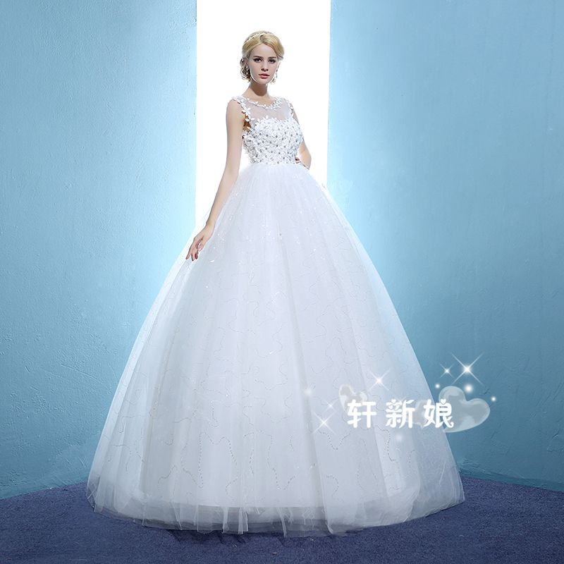 2017 new stock plus size women bridal gown wedding dress white red ...