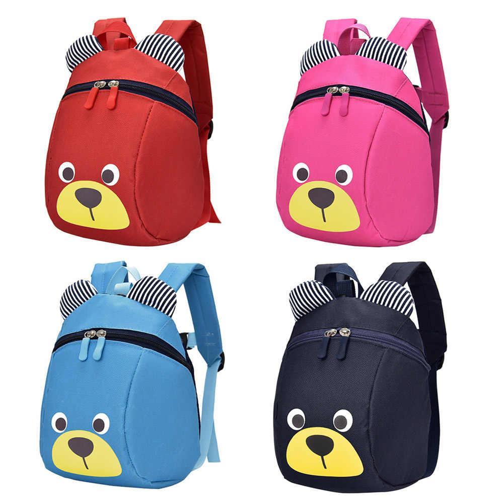 Hot Moda Infantil Mochila Anti-lost Canvas Bag Animal Dos Desenhos Animados Padrão de Urso Crianças Do Jardim de Infância Do Bebê Escola Bags HD88