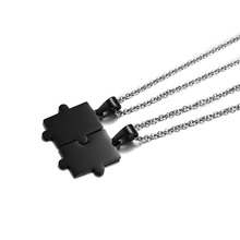 Black Color His and Her Couples Necklaces Stainless Steel Jigsaw Pendant Necklace