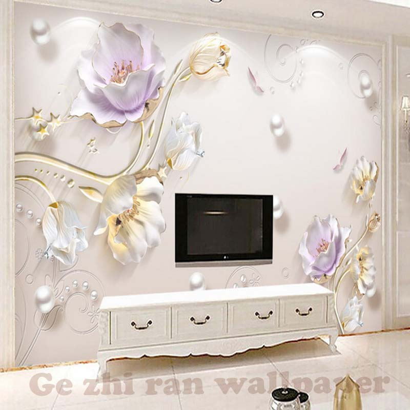 Custom Photo Mural Wallpaper Jewellery Relief Modern Stylish Tulip  Background TV Backdrop 3D Wallpaper Wall Papers Home Decor