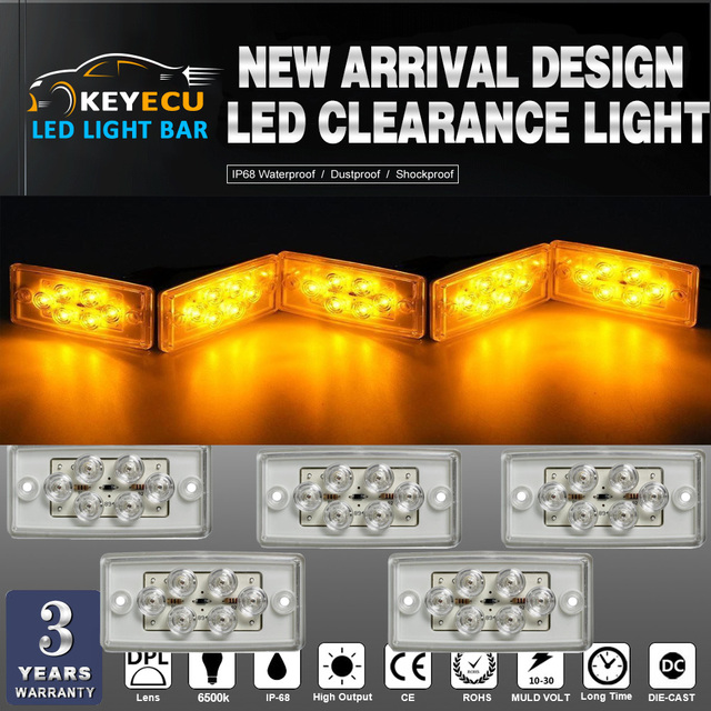 KEYECU Set of 5 Rectangle Amber 6 LED Cab Roof Top Clearance Marker Light  for Freightliner Volvo-in Signal Lamp from Automobiles & Motorcycles on
