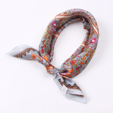 Luna&Dolphin Women Square Scarf 50*50cm Real Silk Scarves Mulberry Silk Vintage Leaves Printing Neckchief Soft Handbag Scarf