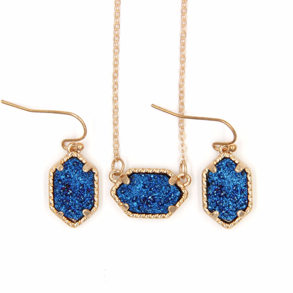 YJX030 Mini Iridescent Druzy Drusy Pendant Necklace With Matching Drop Earrings Hot Fashion Jewelry Sets Super Cute