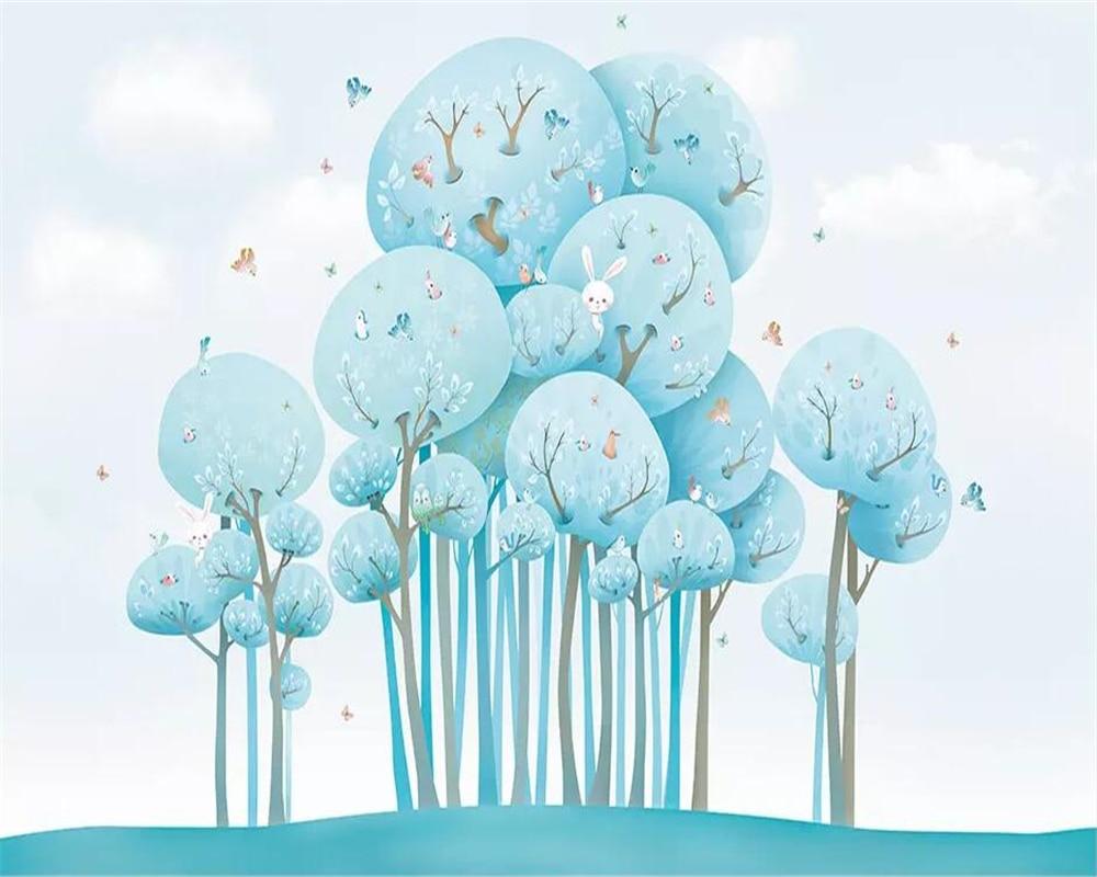 US $8 85 OFF Beibehang 3D Wallpaper Biru Kartun Lucu Hutan Kelinci Burung Anak Anak Kamar Latar Belakang Dinding Lukisan Papel De Parede 3D