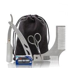 4 Pcs Styling Tools Comb Beard Shaping Tool Template Beard Comb Men Shaving Tools Gentleman Beard Razor Blade Trim Template Tool