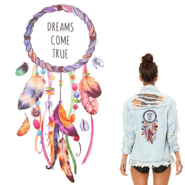 beda0fa775de US $0.94 5% OFF|3D DIY Iron On Transfer Dream Catcher Patches For Clothing  Feather Appliques T shirt DIY Heat Transfer Stripe On Clothes Sticker-in ...