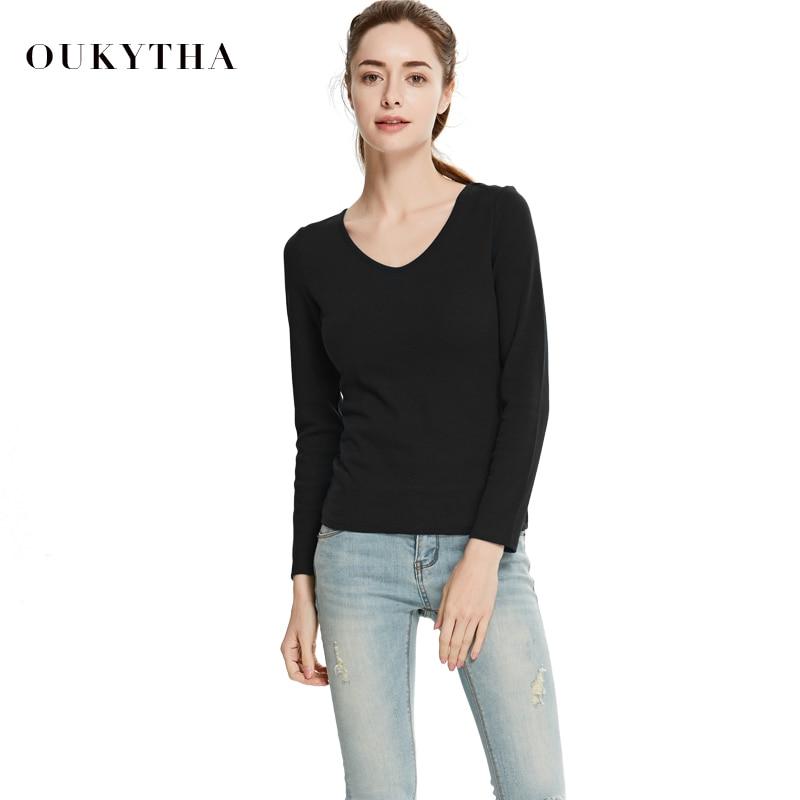 Oukytha 2018 jaro ženy ležérní vyhloubený křížový popruh tričko moderní ženy sexy slim fit výstřih do krku s dlouhým rukávem topy WMZ17617