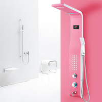 New high quality stainless steel and brass material wall mounted Pink finished shower faucet set Thermostatic Faucets 5 Colors