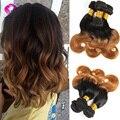 Corto Ombre hair 3 bundles 2 tone 1b/30 de color Oro 7A Virgen Ombre Brasileño Onda Del Cuerpo de la Armadura Bundles Pelo Humano de Remy extensiones