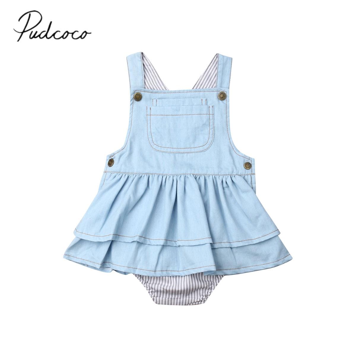 2019 bebê roupas de verão 0-4y infantil crianças do bebê meninas em camadas bodysuit suspender denim macacão azul sem mangas listrado outfits