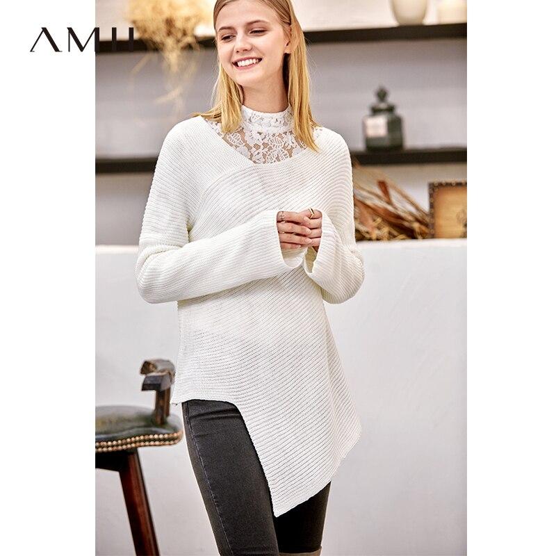 Amii Minimalist Asymmetrical Hem Sweater Women Autumn Winter 2018 Elegant Solid Loose Irregular Collar Warm Pullover