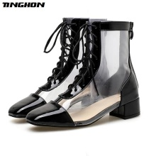TINGHON NEW Autumn Sexy Women PVC Transparent Ankle Boots Round Toe Lace-Up Pumps Shoes Chelsea Fashion Size 35-40
