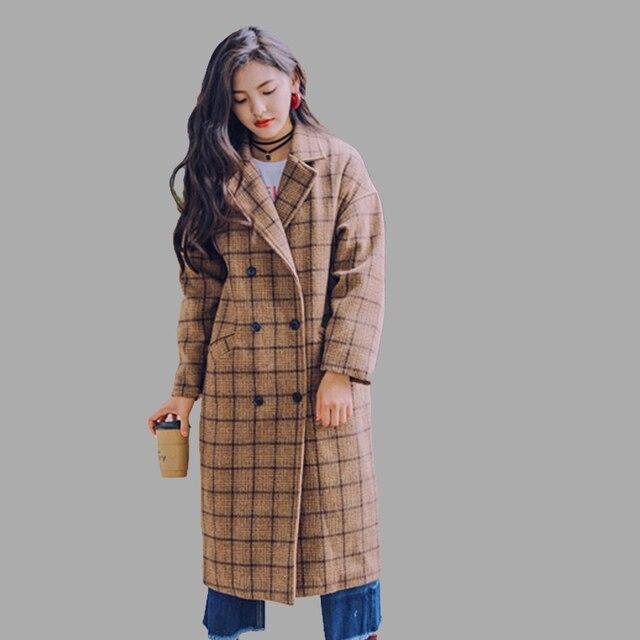 61a8454fe3c2 New Women s Wool Coat Autumn Winter 2018 Fashion Classic Plaid ...