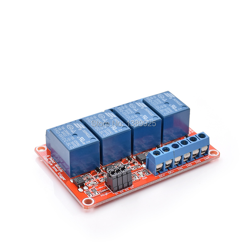 New Arrival 5V 4 Channel Relay Module with Opto Isolation Supports High and Low Level Trigger Optocoupler