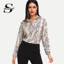 a731dfea8a8e04 Sheinside Snake Print Dip Hem Elegant Blouse Women Long Sleeve Shirt Ladies  Tops And Blouses 2018