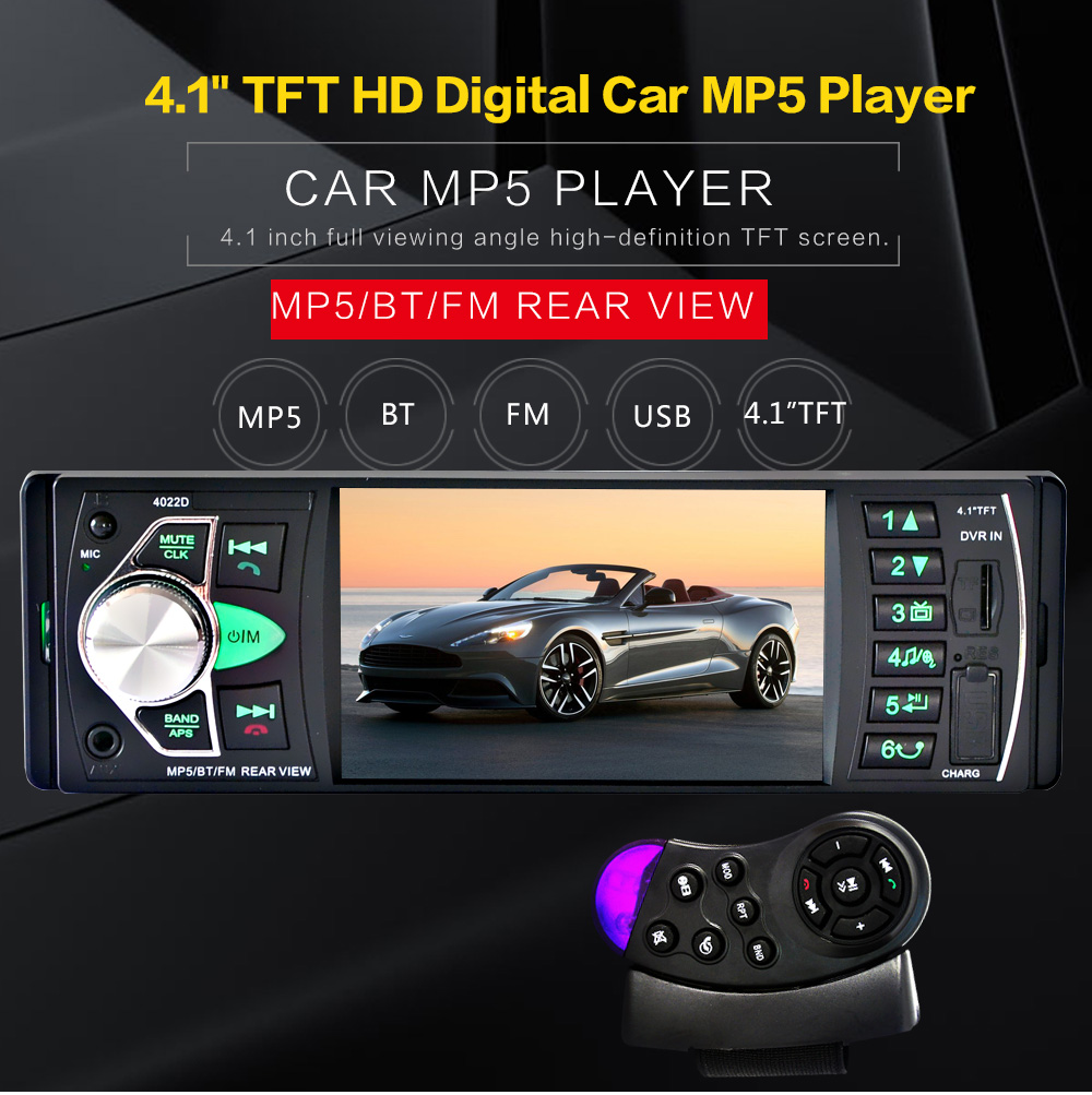 Car MP5 Player 12V Car Vedio Radio 4 inch HDTFT screen Bluetooth/Rear view Camera/Stereo FM Radio/MP4/MP5/Audio/Video/USB/SD/TFT image