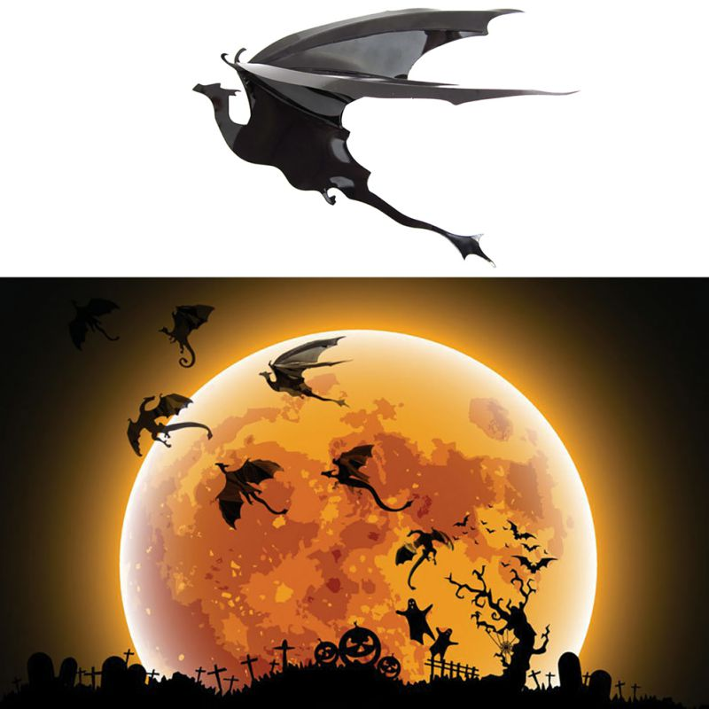 7pcs/lot Fantasy Dragon Silhouettes Halloween Decor Dinosaurs Boys Rooms Fun life Game of Thrones Inspired 3D Dragon Wall Art H9