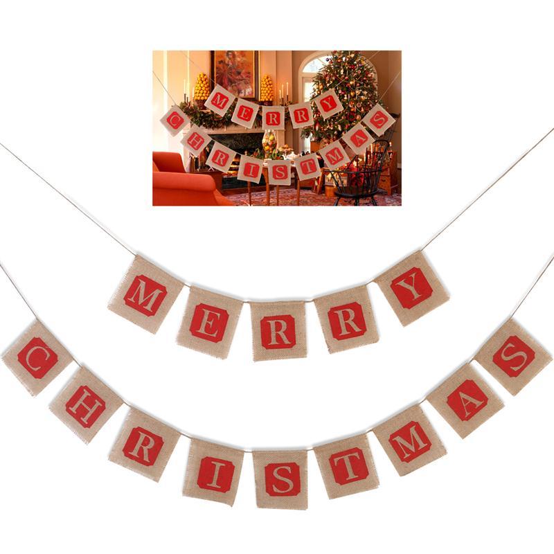 tinksky feliz navidad yute arpillera banners guirnaldas para la decoracin de mainland