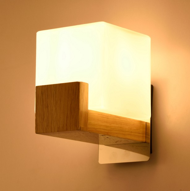Solid wood wall light bedroom lamp bedside lamp modern minimalist aisle corridor entrance staircase wall sconce modern wooden led wall lamp bed room bedside natural solid wood white glass bedroom bedside aisle corridor entrance wall sconce