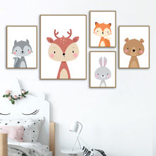 Rabbit Fox Deer Bear Squirrel Nursery Wall Art Canvas Painting Nordic Posters And Prints Wall Pictures Girl Boy Kids Room Decor цена и фото